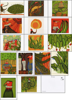 IGA2011印刷デモンストレーション用ポストカード15枚 CL:株式会社小森コーポレーション D:ハートウッドカンパニー